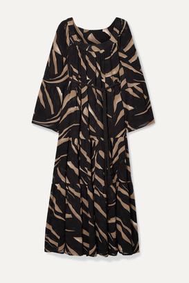 Lisa Marie Fernandez Net Sustain Belted Zebra-print Devore-crepe Maxi Dress - Black