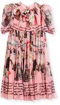 Dolce & Gabbana Chiffon Cat-Print Dress, Size 4-6