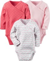 Carter's Baby Girls' Long Sleeve Side-snaps Bodysuits, 3 Months by