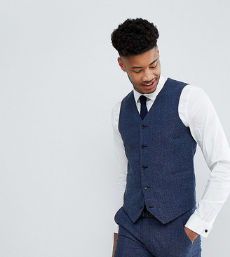 Asos Design ASOS TALL Wedding Super Skinny Suit Vest in Petrol Blue Herringbone
