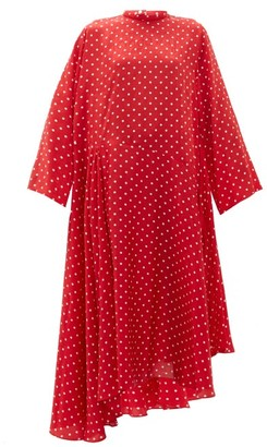 Balenciaga Typo Polka-dot Print Silk-jacquard Midi Dress - Womens - Red Multi