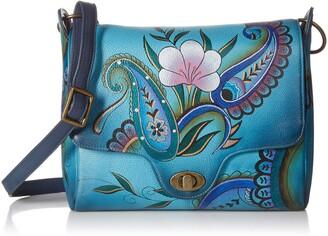 Anuschka Anna by Womens Genuine Leather Flap-Over Medium Shoulder Bag | Hand Painted Original Artwork | Chic & Stylish Organizer | Denim Paisley