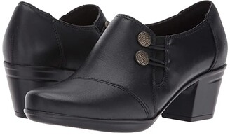 Clarks Emslie Warren (Black Leather) Women's Slip on Shoes