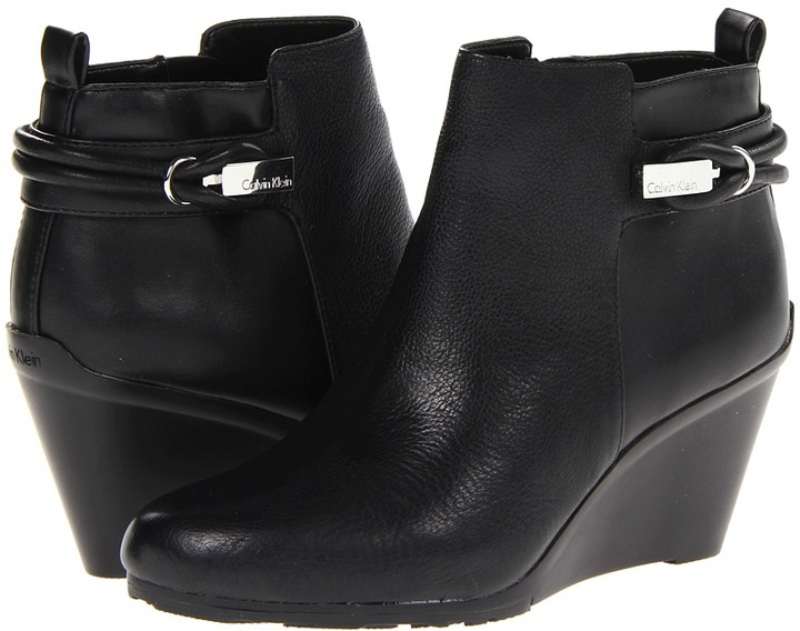 Calvin Klein Tennie (Black Tumbled Leather/Nappa) - Footwear