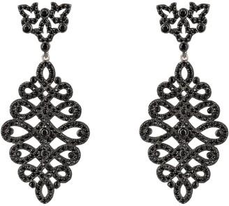 Latelita Calligraphy Drop Earrings - Black Cz Silver
