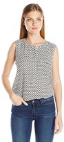 NYDJ Women's Sleeveless Henley Blouse