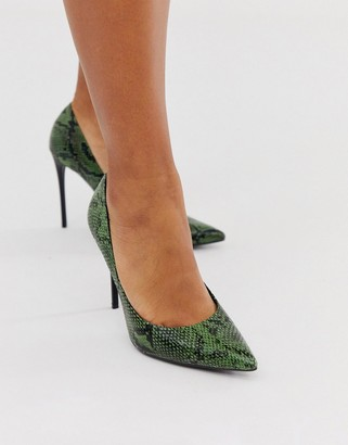 Truffle Collection pointed heeled stiletto in green snake