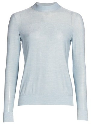 Akris Silk Lurex Fine Gauge Mockneck Sweater