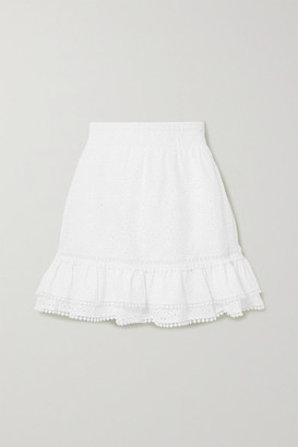 Charo Ruiz Ibiza Humy Crocheted Lace-trimmed Broderie Anglaise Cotton-blend Mini Skirt - White