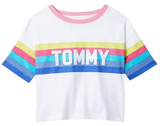 Tommy Hilfiger Adaptive Monet Tee with VELCRO(r) BRAND Closure at Shoulder (Little Kids/Big Kids) (Classic White) Women's T Shirt