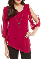 I.N. San Francisco Cold Shoulders Asymmetrical-Overlay Top