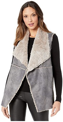 True Grit Dylan by Maddie Reversible Vest with Soft Bonded Faux-Shearling (Denim) Women's Clothing