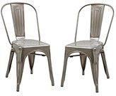 Joveco Sheetmetal Frame Tolix Style Bar Chairs with Back - Set of 2 (Gunmetal)