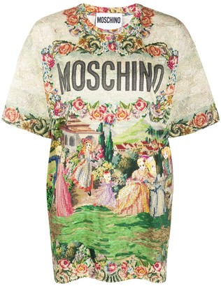Moschino tapestry-print cotton T-shirt