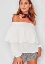 Missy Empire Addilyn White Ruffle Bardot Top