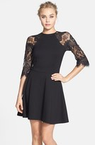 BB Dakota Women's 'Yale' Lace Panel Fit & Flare Dress