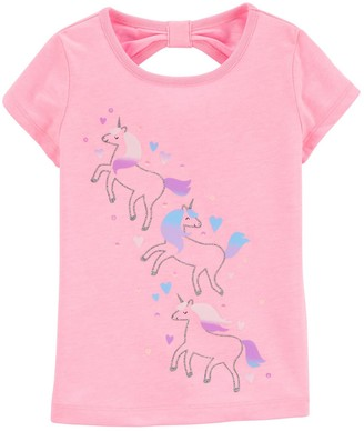 Carter's Toddler Girl Glitter Unicorn Bow-Back Tee