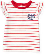 Ralph Lauren Girl Embroidered Striped Cotton Tee