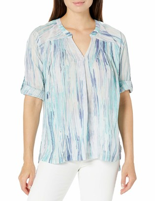 Nine West Women's Augusta-Gisella Roll Tab Sleeve Pullover Top