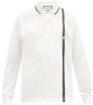 Gucci Web-striped Long-sleeved Cotton-pique Polo Shirt - White