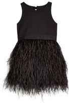 Milly Minis Blaire Feather-Skirt Sleeveless Dress, Black, Size 8-14