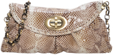 Carla Mancini Nude Python-Embossed Leather Clutch