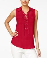 Amy Byer Juniors' Lace-Up Sleeveless Shirt