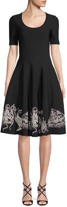 Alexander McQueen Assorted Embroidered A-Line Dress