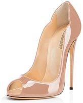 Modemoven Women's Sexy Open Toe High Heels,Patent Leather Peep Toe Pumps,Wedding Dress Shoes,Comfort Stilettos