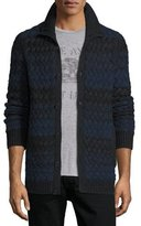 John Varvatos Basketweave-Knit Striped Cardigan