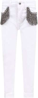 Dondup White monroe Girl Jeans With Iconic D And Silver Fringes