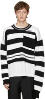 Raf Simons Black & White Disturbed Striped Sweater