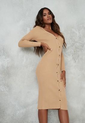 Missguided Petite Camel Rib Knit Long Sleeve Midi Dress