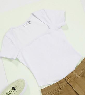 ASOS DESIGN Petite square neck bodysuit with cap sleeve in white