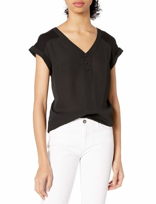 Amy Byer A. Byer Women's Cuff Sleeve Blouse Top with Buttons