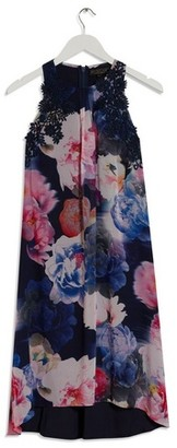 Dorothy Perkins Womens Showcase Navy Floral Print Trapeze Dress