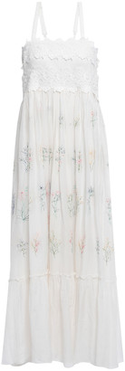 Love Sam Lace-trimmed Embroidered Cotton And Silk-blend Maxi Dress