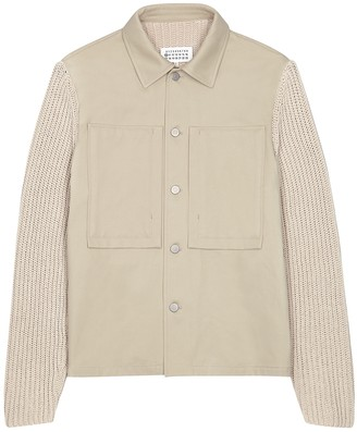 Maison Margiela Stone cotton and chunky-knit jacket