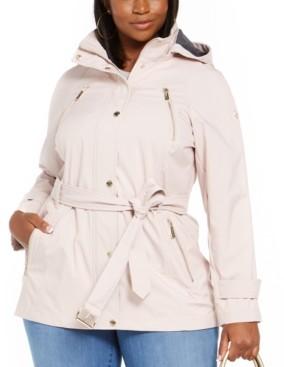 Michael Kors Michael Plus Size Hooded Raincoat
