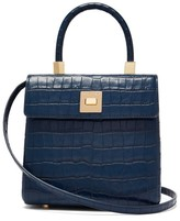 Sparrows Weave - The Classic Crocodile-effect Leather Bag - Womens - Navy Multi