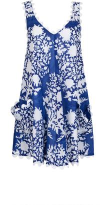 Juliet Dunn Scallop-Trimmed Palladio-Print Cotton Mini Dress