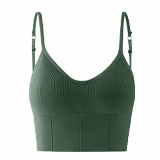 lecduo Women New Sports Yoga Bras Comfortable Wireless Bra Top Vest Breathable Chest Pad Wearing Sports Underwear(Army Green Free Size)