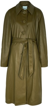 Kate Sylvester Nan Army Green Faux Leather Coat