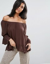 Minimum Off The Shoulder Floaty Bardot Top