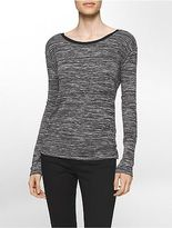 Calvin Klein Womens Marled V-Back Long Sleeve Tee