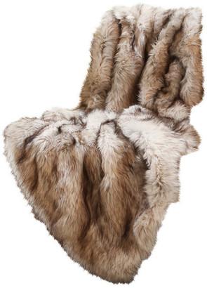 "Best Home Fashion Luxe Faux Fur Throw Blanket, Champagne Fox, 58""x60"""