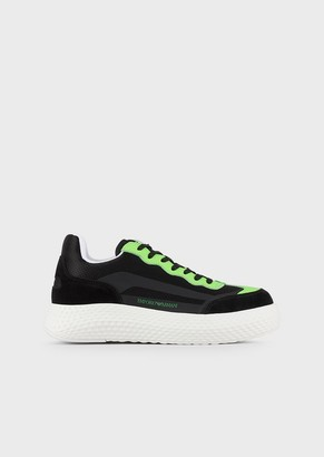Emporio Armani Mesh Sneakers With Suede Inserts