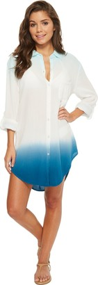 Green Dragon Women's Dip Dye Boyfriend Shirt Cover up