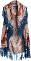 Raj Imports Women's Sweater Vests Denim - Rust Paisley Fringe-Trim Open Vest - Women