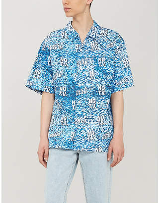 Lifes A Beach No TV-print relaxed-fit cotton-poplin shirt
